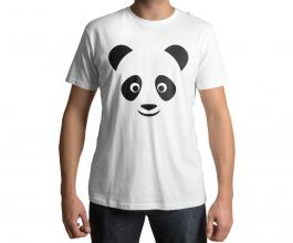 Camiseta temática panda rosa Tecido 100% Poliéster Estampa Colorida A3  Sublimação
