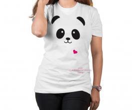 Camiseta temática panda rosa coraçãozinho Tecido Poliéster Estampa Colorida A3  Sublimação