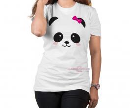 Camiseta temática panda rosa lacinho Tecido Poliéster Estampa Colorida A3  Sublimação
