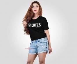 CAMISETA PILATES Tecido 100% Poliéster Preta Estampa Colorida A3  Sublimação Camiseta na cor preta