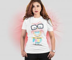 Camiseta Dia dos Professores - Para a Melhor Professora Tecido 100% Poliéster Estampa Colorida A3  Sublimação