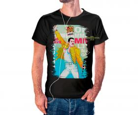 CAMISETA QUEEN Tecido 100% Poliéster Estampa Colorida A3  Sublimação Camiseta na cor preta