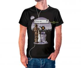 CAMISETA STAR WARS Tecido 100% Poliéster Estampa Colorida A3  Sublimação Camiseta na cor preta
