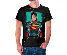 CAMISETA SUPERMAN VITRAL Tecido 100% Poliéster Estampa Colorida A3  Sublimação Camiseta na cor preta