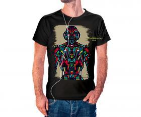 CAMISETA ULTROM VITRAL Tecido 100% Poliéster Estampa Colorida A3  Sublimação Camiseta na cor preta