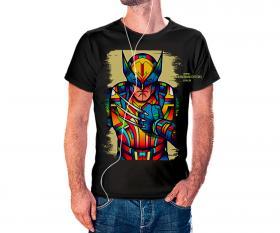 CAMISETA WOLVERINE VITRAL Tecido 100% Poliéster Estampa Colorida A3  Sublimação Camiseta na cor preta