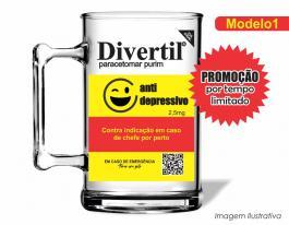Caneca acrílica boteco de 350ml - Divertil Poliestireno  Frente colorido Adesivo Vinil UV Led