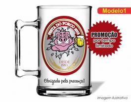 Caneca acrílica boteco de 350ml - Festa do porco Poliestireno  Frente colorido Adesivo Vinil UV Led