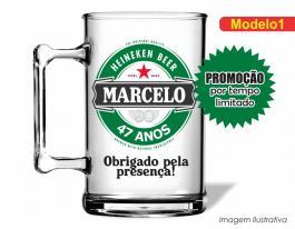 Caneca acrílica boteco de 350ml - Heineken Poliestireno  Frente colorido Adesivo Vinil UV Led