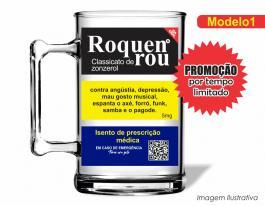 Caneca acrílica boteco de 350ml - Roquenrou Poliestireno  Frente colorido Adesivo Vinil UV Led