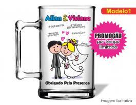 Caneca acrílica casamento de 350ml - Casamento cas01 Poliestireno  Frente colorido Adesivo Vinil UV Led