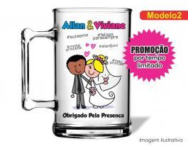 Caneca acrílica casamento de 350ml - Casamento cas02 Poliestireno  Frente colorido Adesivo Vinil UV Led