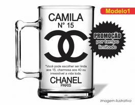 Caneca acrílica debutante de 350ml - Chanel Poliestireno  Frente colorido Adesivo Vinil UV Led