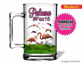 Caneca acrílica debutante de 350ml - Flamingo Poliestireno  Frente colorido Adesivo Vinil UV Led