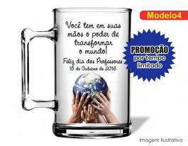 CANECA ACRÍLICA DIA DOS PROFESSORES MOD004 Poliestireno 350ml Frente colorido Adesivo Vinil UV Led