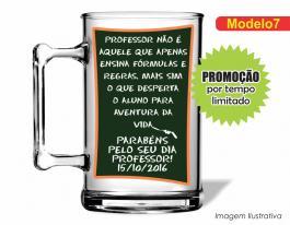CANECA ACRÍLICA DIA DOS PROFESSORES MOD007 Poliestireno 350ml Frente colorido Adesivo Vinil UV Led