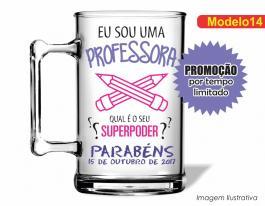 CANECA ACRÍLICA DIA DOS PROFESSORES MOD014 Poliestireno 350ml Frente colorido Adesivo Vinil UV Led