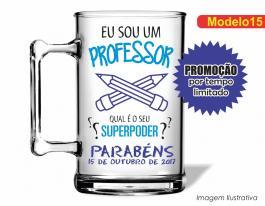 CANECA ACRÍLICA DIA DOS PROFESSORES MOD015 Poliestireno 350ml Frente colorido Adesivo Vinil UV Led