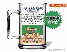 CANECA ACRÍLICA DIA DOS PROFESSORES MOD018 Poliestireno 350ml Frente colorido Adesivo Vinil UV Led