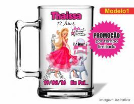 Caneca acrílica infantil de 350ml - Barbie moda e mágia Poliestireno  Frente colorido Adesivo Vinil UV Led