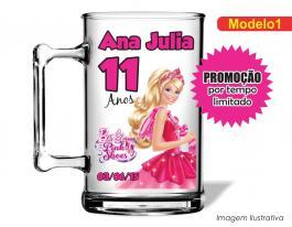 Caneca acrílica infantil de 350ml - Barbie pink shoes Poliestireno  Frente colorido Adesivo Vinil UV Led