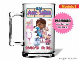 Caneca acrílica infantil de 350ml - Doutora brinquedo Poliestireno  Frente colorido Adesivo Vinil UV Led