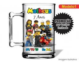 Caneca acrílica infantil de 350ml - Lego city Poliestireno  Frente colorido Adesivo Vinil UV Led
