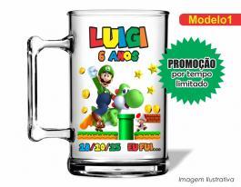 Caneca acrílica infantil de 350ml - Luigi Poliestireno  Frente colorido Adesivo Vinil UV Led