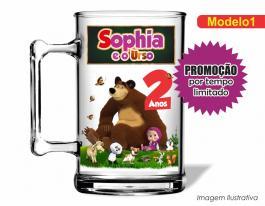 Caneca acrílica infantil de 350ml - Masha e o urso Poliestireno  Frente colorido Adesivo Vinil UV Led