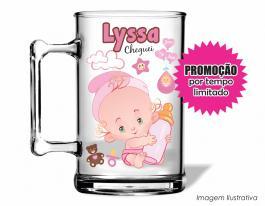 Caneca acrílica maternidade de 350ml - Nascimento de menina 01 Poliestireno  Frente colorido Adesivo Vinil UV Led