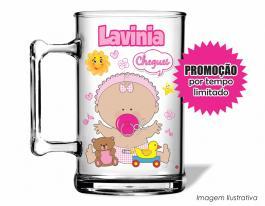 Caneca acrílica maternidade de 350ml - Nascimento de menina 02 Poliestireno  Frente colorido Adesivo Vinil UV Led