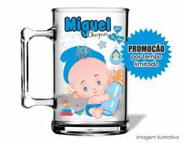 Caneca acrílica maternidade de 350ml - Nascimento de menino 01 Poliestireno  Frente colorido Adesivo Vinil UV Led
