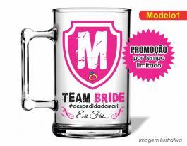 Caneca acrílica team bride de 350ml - Time da noiva Poliestireno  Frente colorido Adesivo Vinil UV Led