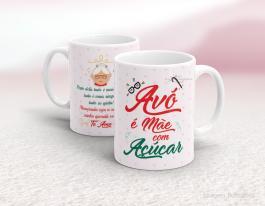 Caneca cerâmica - avó é mãe com açúcar Cerâmica branca   Sublimação