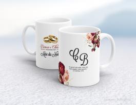 Caneca cerâmica com alça e interior em branco personalizada de 325ml - homenagem a mãe da noiva Cerâmica branca   Sublimação