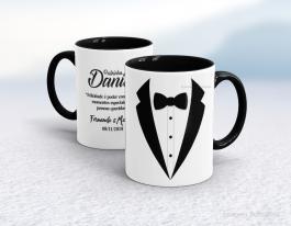 Caneca cerâmica com alça e interior em preto personalizada de 325ml - padrinho Cerâmica Branca com Alça e Interior em Cores   Sublimação