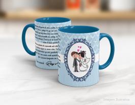 Caneca cerâmica com alça e interior em azul personalizada de 325ml - casamento Cerâmica Branca com Alça e Interior em Rosa   Sublimação