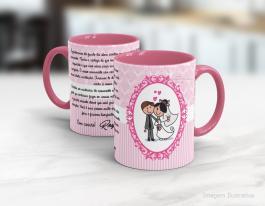 Caneca cerâmica com alça e interior em rosa personalizada de 325ml - casamento Cerâmica Branca com Alça e Interior em Rosa   Sublimação