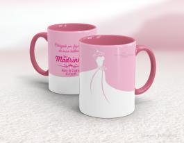 Caneca cerâmica com alça e interior em rosa personalizada de 325ml - madrinha Cerâmica Branca com Alça e Interior em Cores   Sublimação