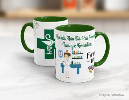 Caneca cerâmica com alça e interior em verde - Farmacêutico Cerâmica Branca   Sublimação