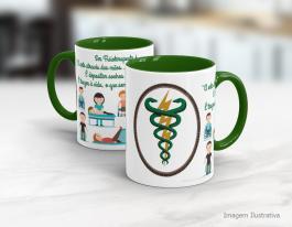 Caneca cerâmica com alça e interior em verde - Fisioterapeuta Cerâmica Branca   Sublimação