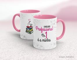 Caneca cerâmica dia do professor com alça e interior em rosa Mod13 Cerâmica Branca com Alça e Interior em Cores   Sublimação
