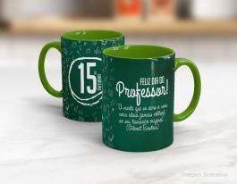 Caneca cerâmica dia do professor com alça e interior em verde Mod10 Cerâmica Branca com Alça e Interior em Cores   Sublimação