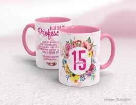 Caneca cerâmica dia do professor com alça e interior em rosa Mod08 Cerâmica Branca com Alça e Interior em Cores 325ml  Sublimação