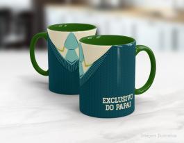 Caneca cerâmica dia dos pais - caneca exclusiva do papai Cerâmica branca interior e alça verde   Sublimação