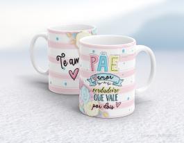 Caneca cerâmica dia dos pais - pãe amor verdadeiro que vale por dois Cerâmica branca interior e alça branca   Sublimação