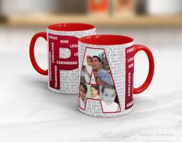Caneca cerâmica dia dos pais - pai amigo, carinho... Cerâmica branca interior e alça vermelha   Sublimação