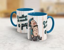 Caneca cerâmica dia dos pais - melhor papai do mundo Cerâmica branca interior e alça azul   Sublimação