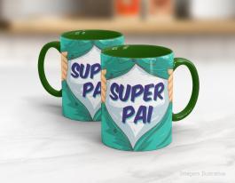 Caneca cerâmica dia dos pais - super pai Cerâmica branca interior e alça verde   Sublimação