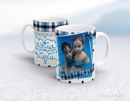 Caneca cerâmica dia dos pais - te amo papai Cerâmica branca interior e alça branca   Sublimação